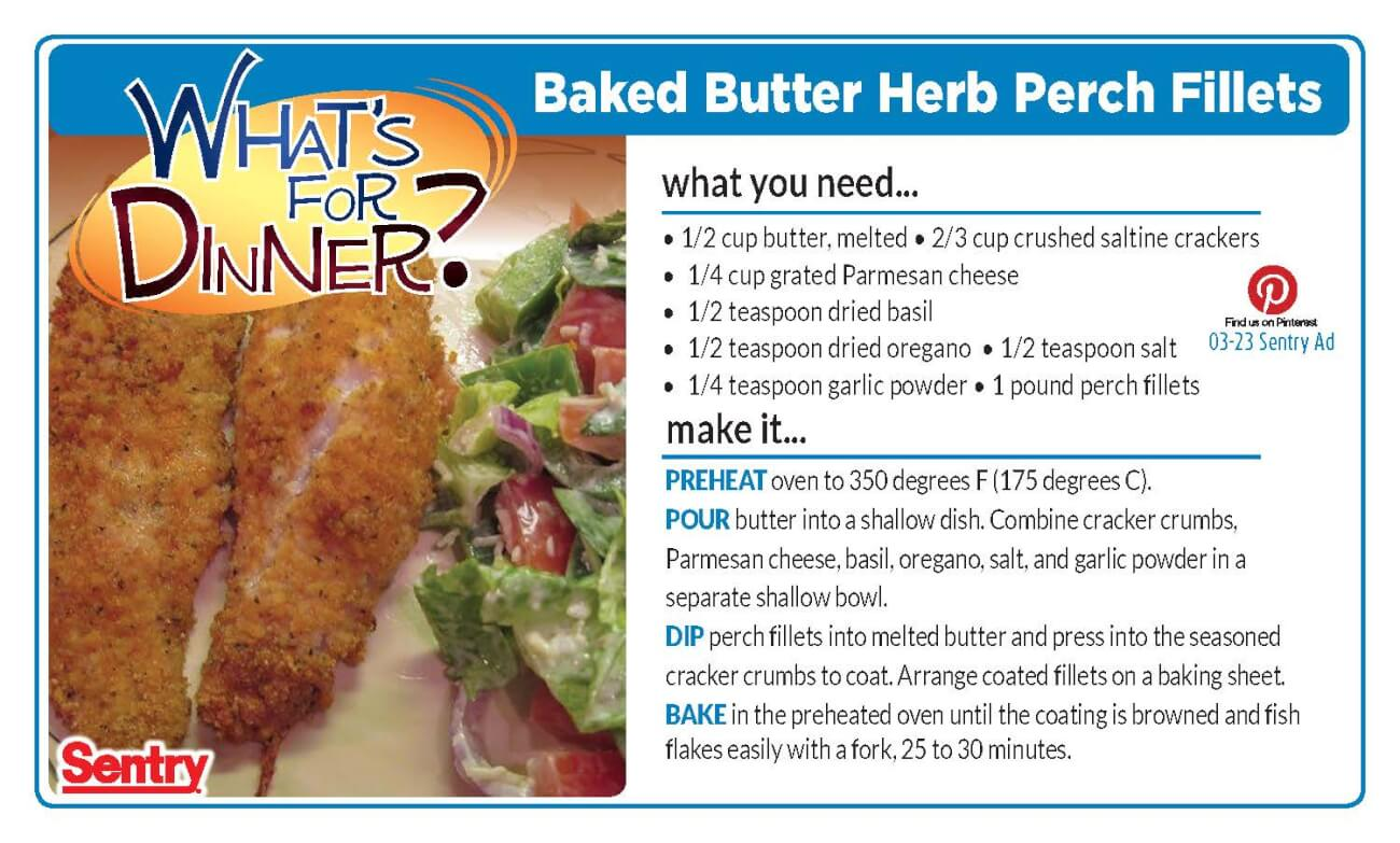 Baked Butter Herb Perch Fillets