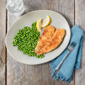 Almond Crusted Tilapia with Parmesan Peas