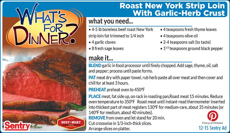 Roast New York Strip Loin With Garlic-Herb Crust