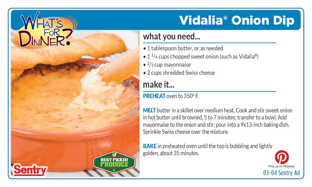 Vidalia Onion Dip Recipe Card
