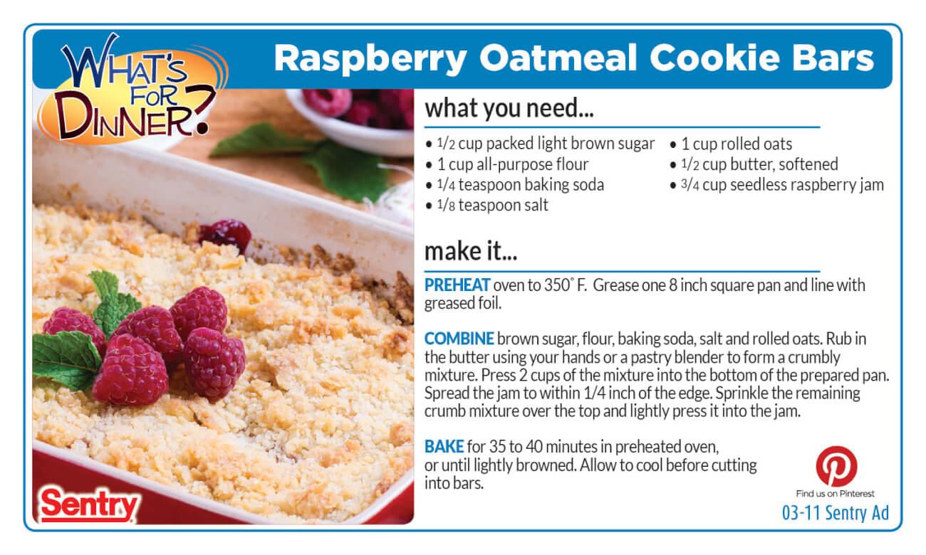 Raspberry Oatmeal Cookie Bars