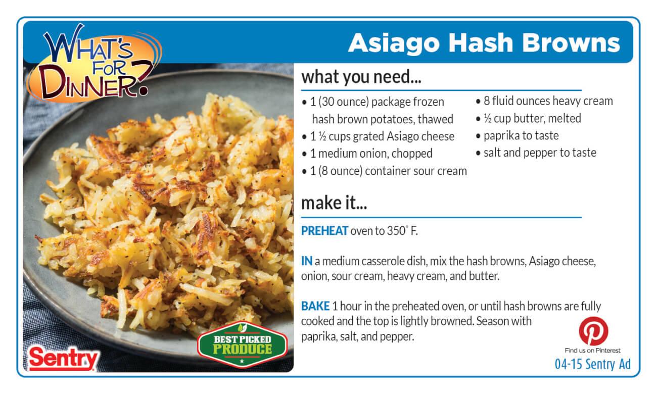 Asiago Hash Browns Recipe Card