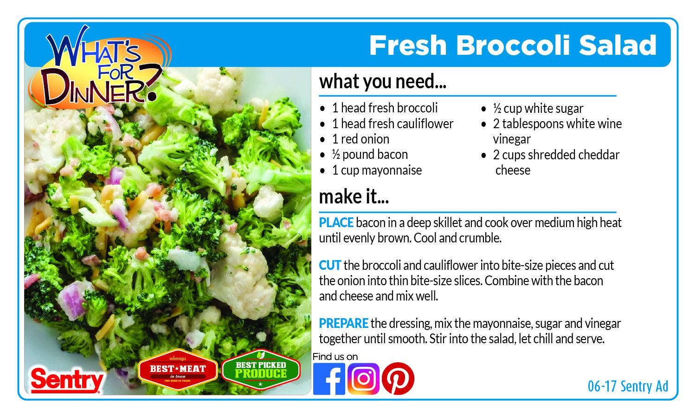 Fresh Broccoli Salad - Recipe Card