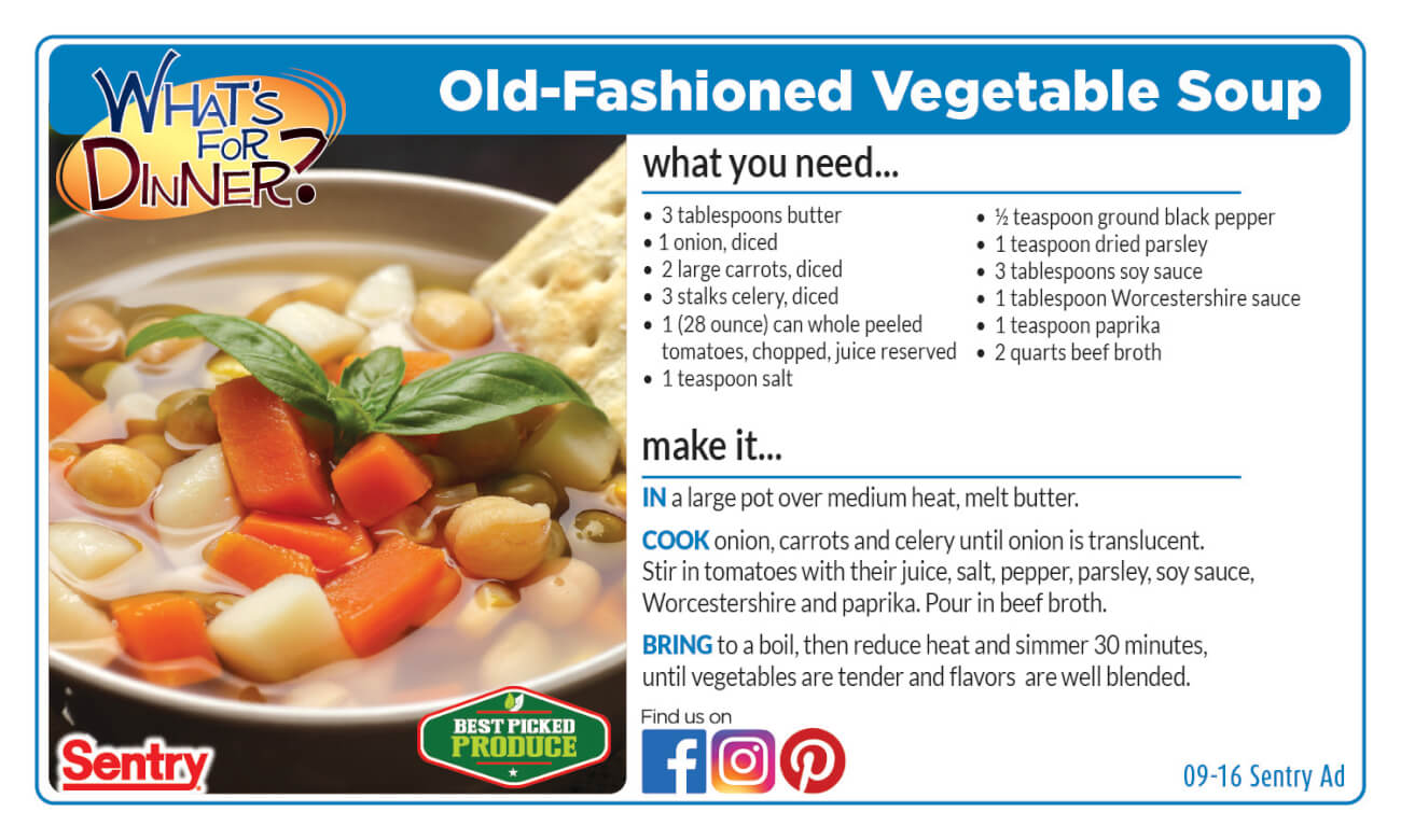 Old Fashioned Vegetable Soup Recipe Card