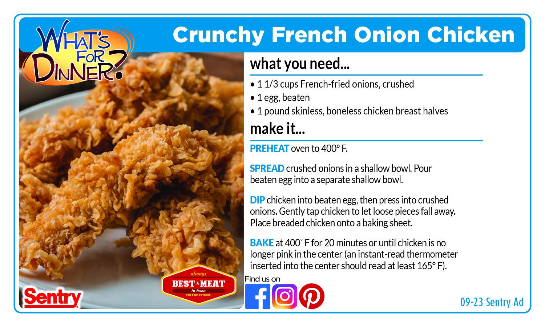 Crunchy French Onion Chicken Recipe Card
