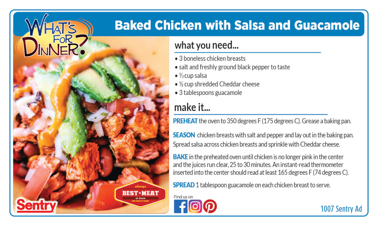 Recipe: Baked Chicken with Salsa and Guacamole